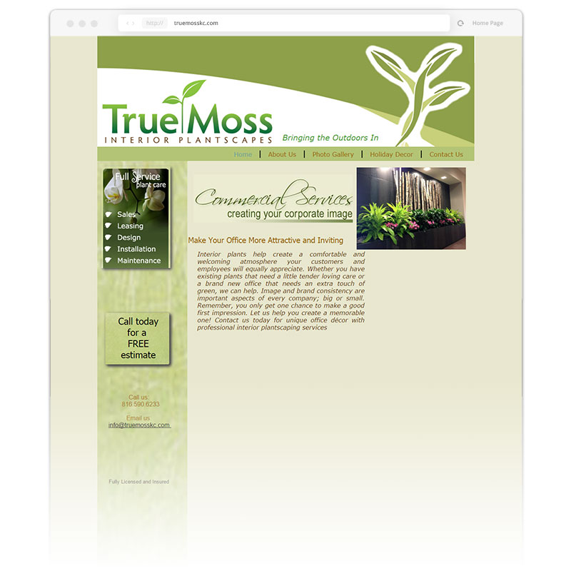 Image of the original user-interface that Andrew Lee Smith redesigned for client True Moss Interior Plantscapes