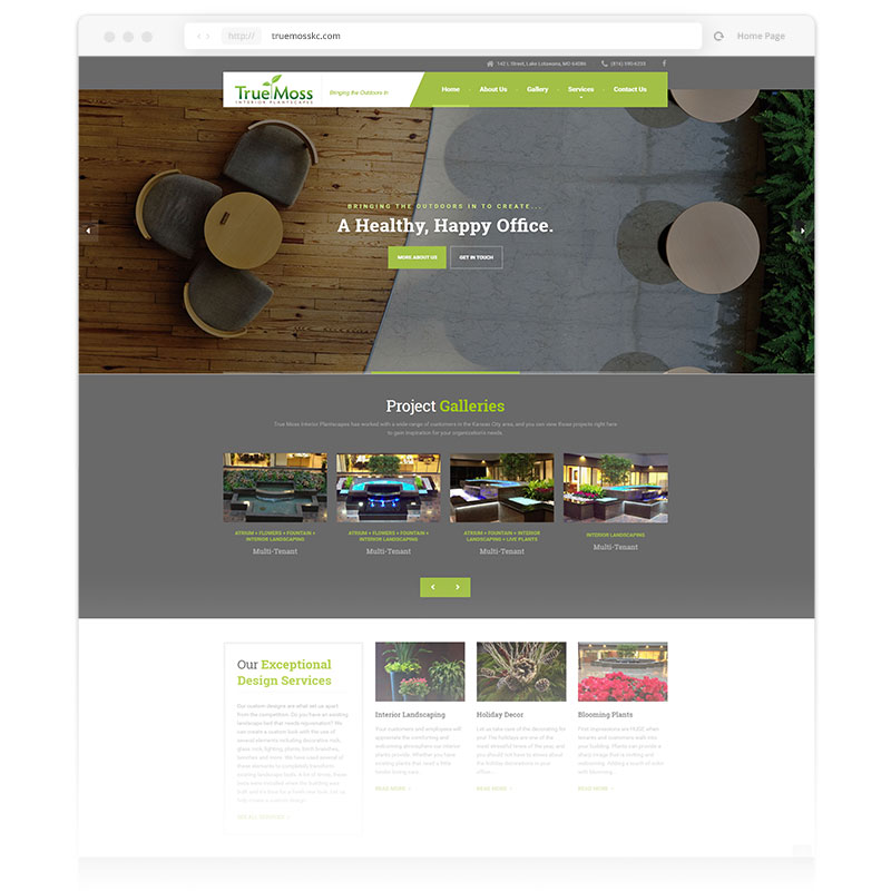 Image of the user-interface that Andrew Lee Smith redesigned for client True Moss Interior Plantscapes