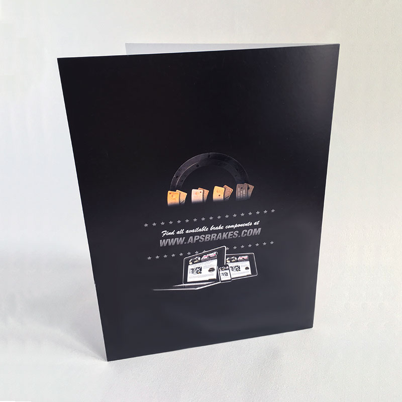 Image of the outside back cover of the pocket folder that Andrew Lee Smith designed for client Aviation Products Systems