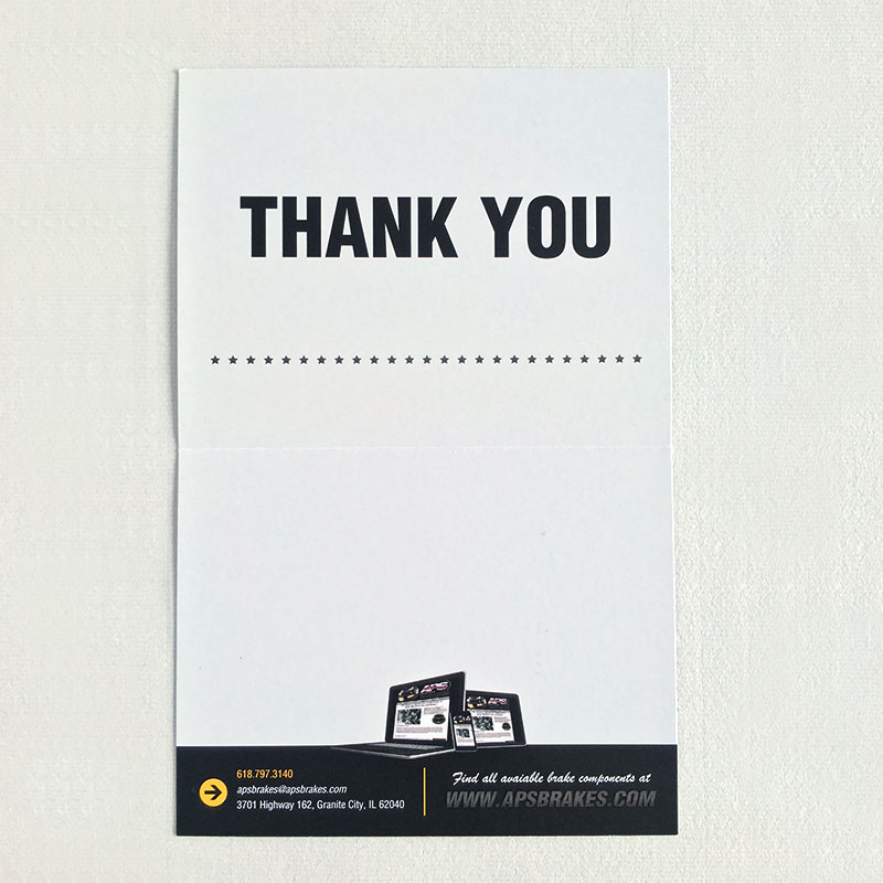 Image of the inside panels of the thank you card that Andrew Lee Smith designed for client Aviation Products Systems