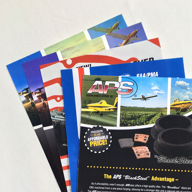 Image of letter-sized sell sheets that Andrew Lee Smith designed for client Aviation Products Systems