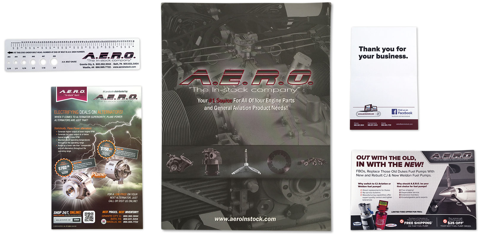 Image of marketing collateral and promotional items that Andrew Lee Smith designed for aviation client A.E.R.O., Inc.