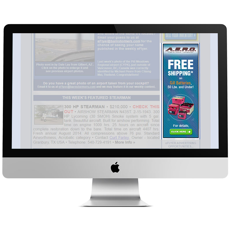 Image of a computer monitor displaying a pay-per-click banner ad that Andrew Lee Smith designed for aviation client A.E.R.O., Inc.
