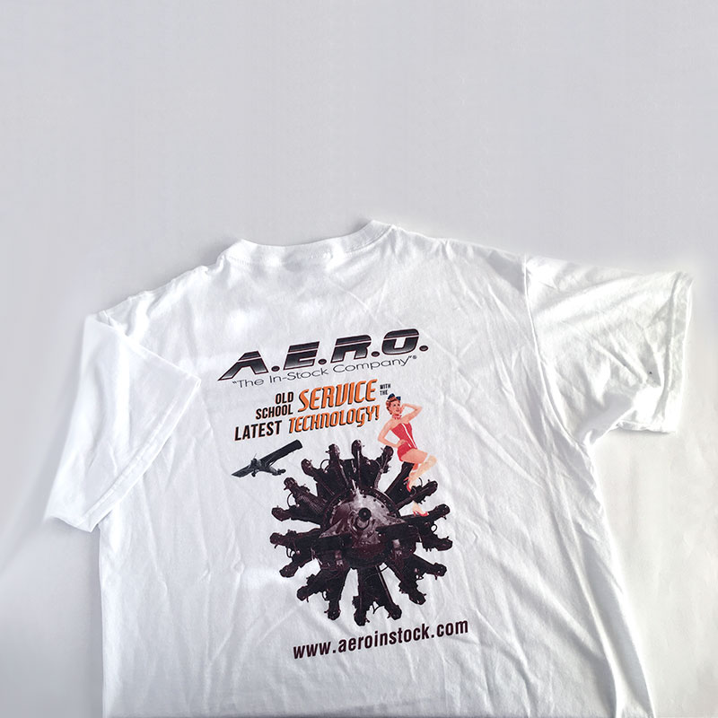 Image of custom t-shirt that Andrew Lee Smith designed for aviation client A.E.R.O., Inc.
