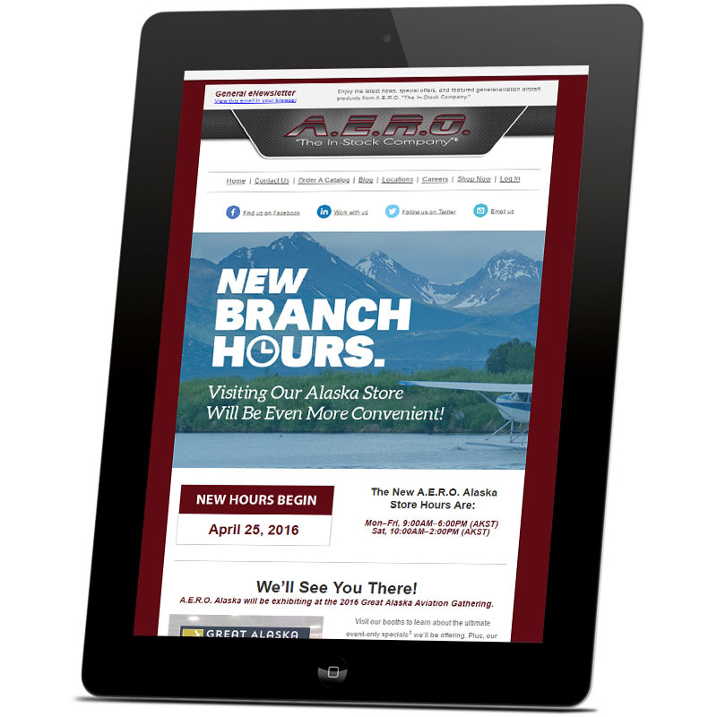 Image of a tablet device displaying a responsive marketing email that Andrew Lee Smith designed for aviation client A.E.R.O., Inc.