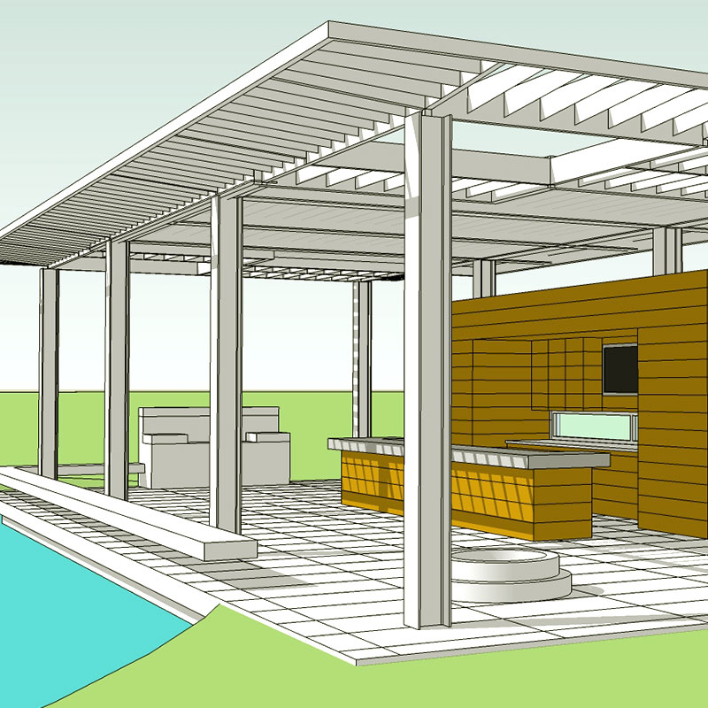 Image of a concept rendering of a beer garden that I created while working at Gray Design Group