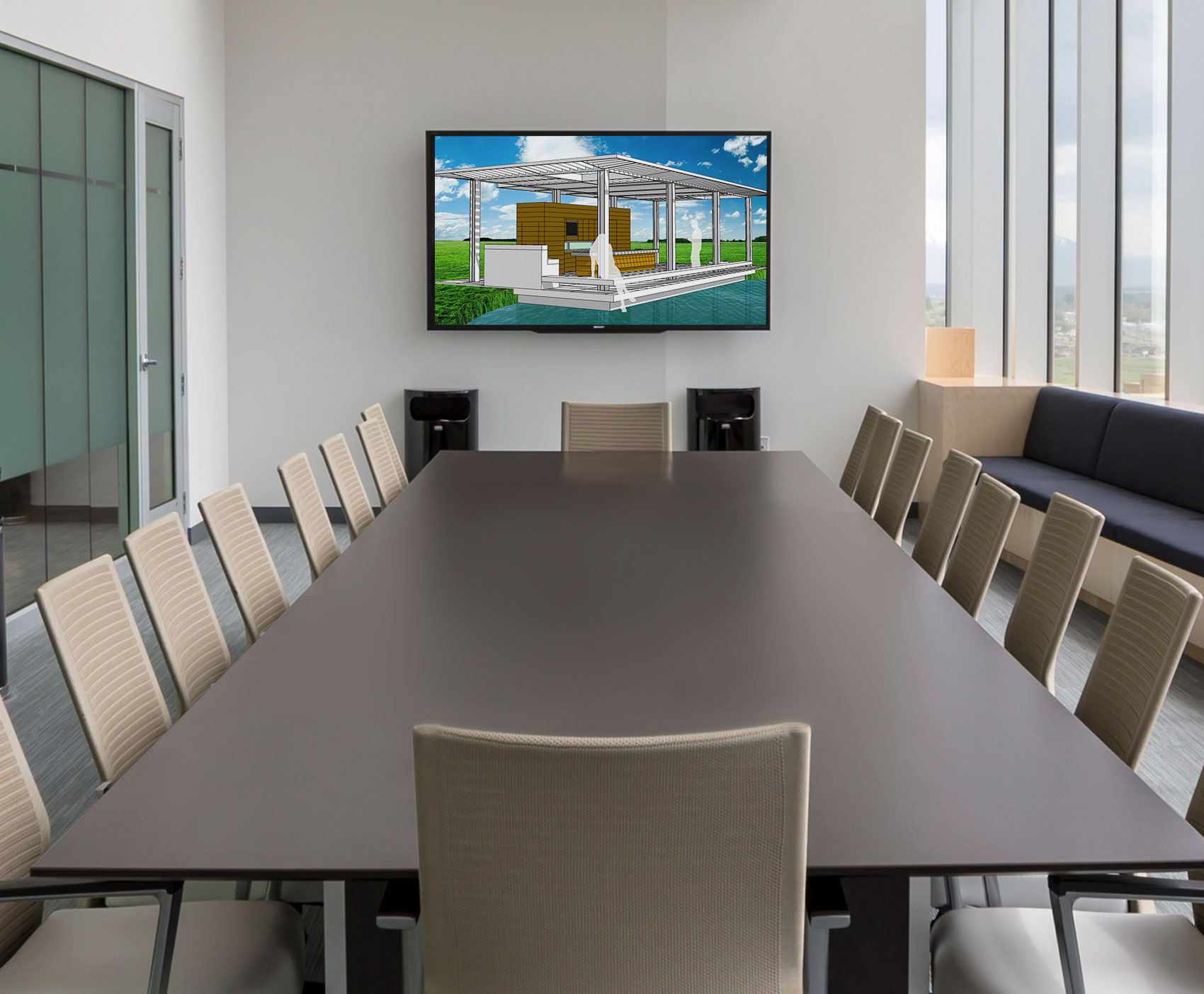 Image of a rendering displayed on a conference room monitor that I created while working at Gray Design Group
