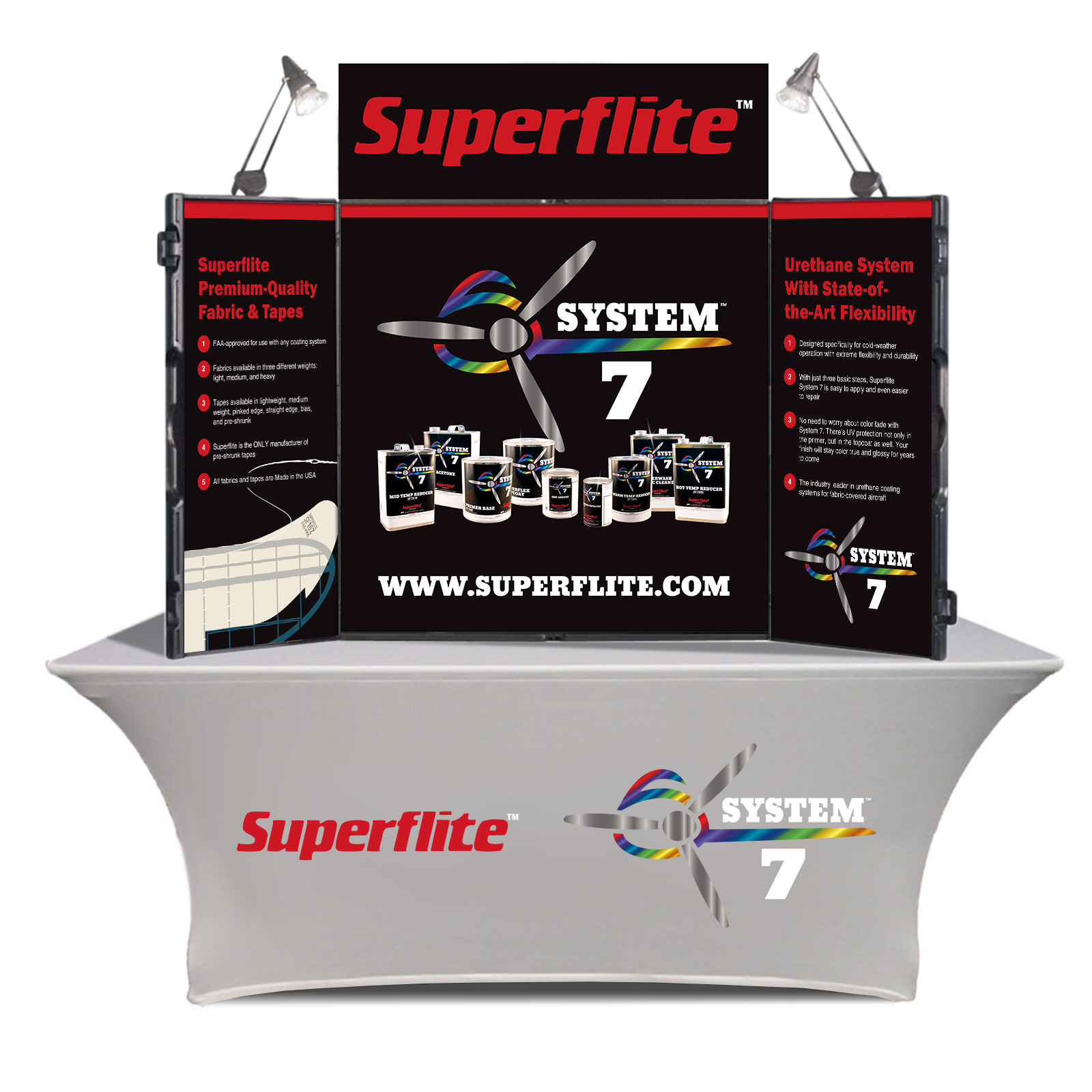 Image of a table-top trade-show display and a branded table throw created for the Superflite System 7 aircraft covering system