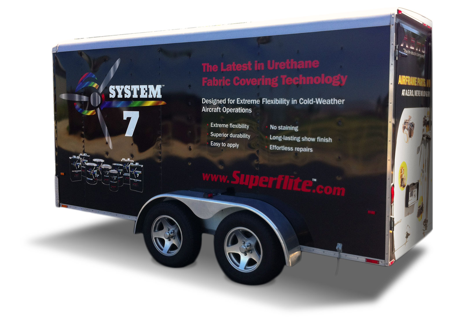 Image of a 20-foot trailer branded for the Superflite System 7 aircraft covering system