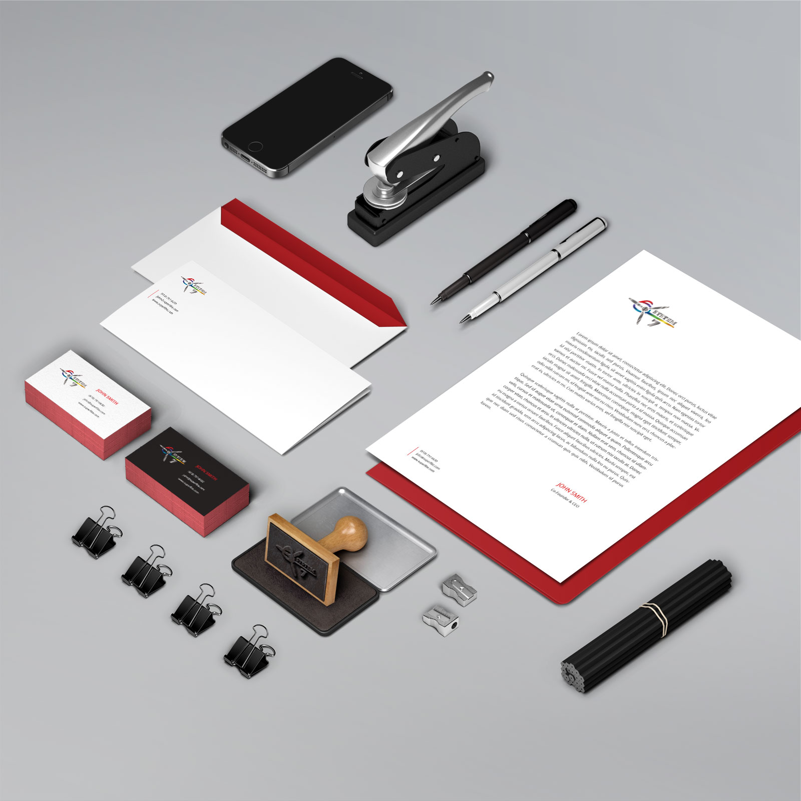 Image of branded corporate stationery created for the Superflite System 7 aircraft covering brand
