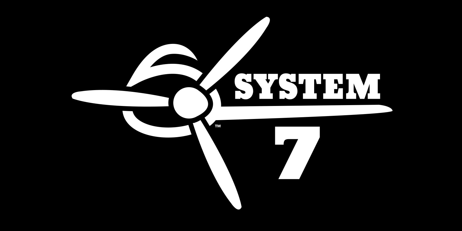 Image of the final light-on-dark logo version created for the Superflite System 7 aircraft covering system