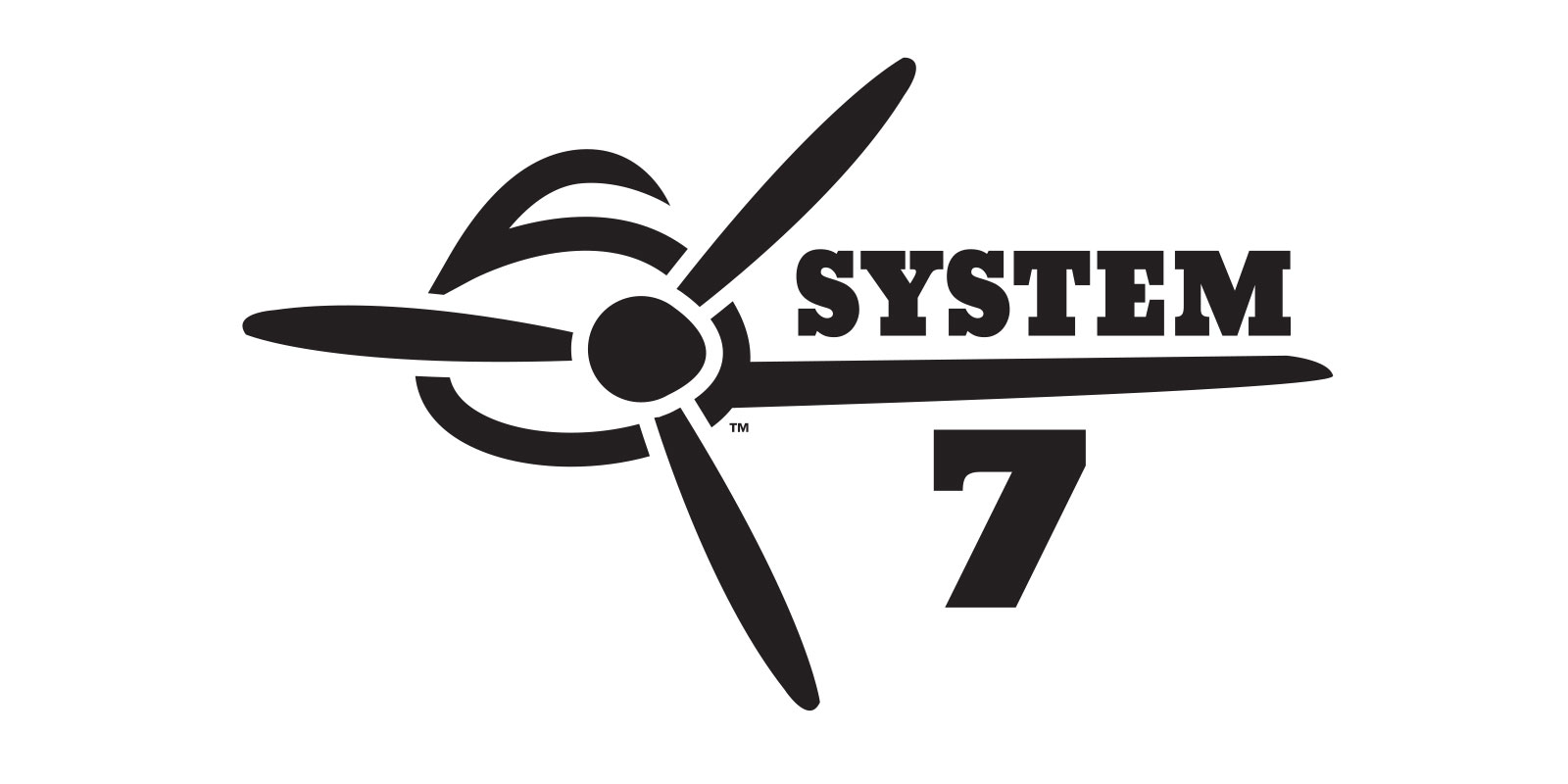 Image of the final dark-on-light logo version created for the Superflite System 7 aircraft covering system