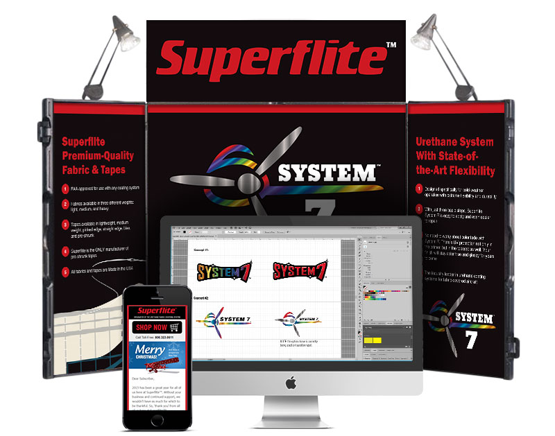 Image of trade show and brand identity samples that Andrew Lee Smith designed for Superflite