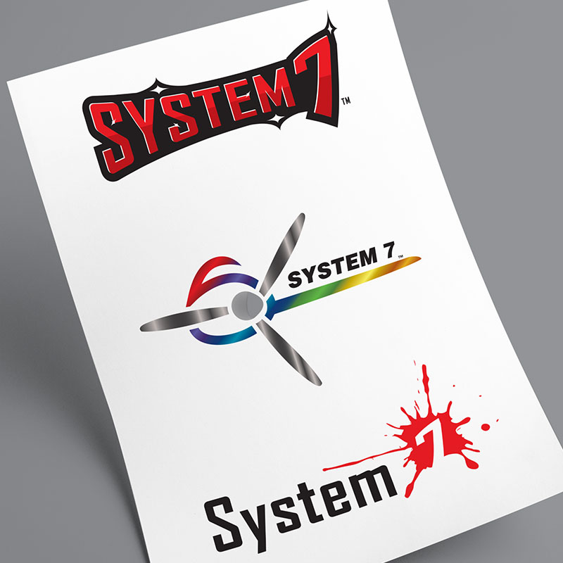 Image of three preliminary logo concepts created for the Superflite System 7 aircraft covering system